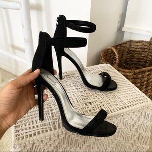 Velvet Single Strap Heels